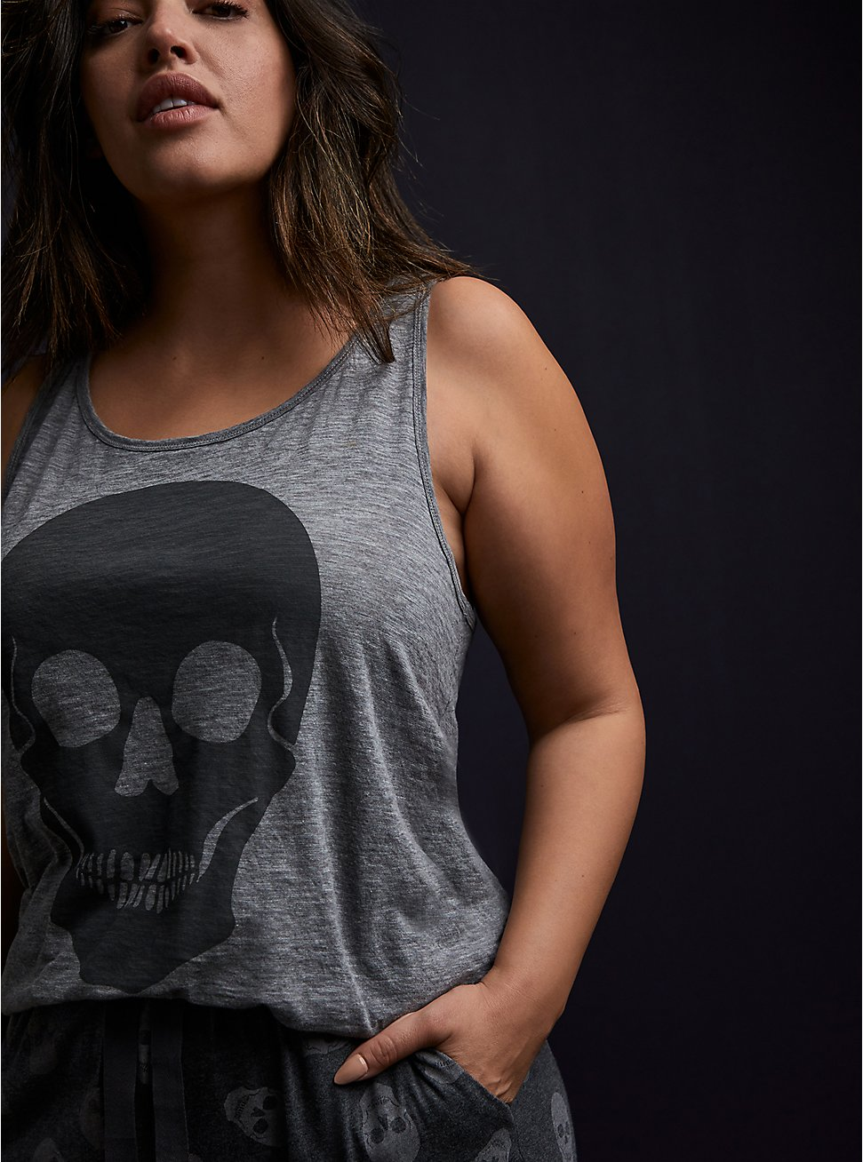 Skull Slub Jersey Sleep Tank - Heather Grey, GREY, hi-res