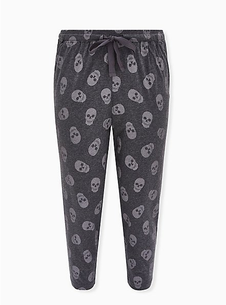 Charcoal Grey Skull Drawstring Crop Sleep Pant , MULTI, hi-res