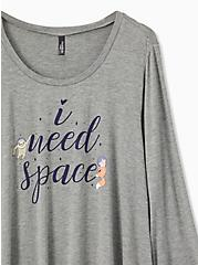 Need Space Jersey Heather Grey Ruffle Sleep Top, GREY, alternate