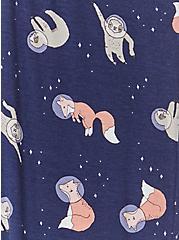 Navy Astro Fox & Sloth Drawstring Crop Sleep Pant, MULTI, alternate