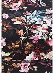 Black Floral Lattice Back Wicking Sports Bra, MULTI, alternate