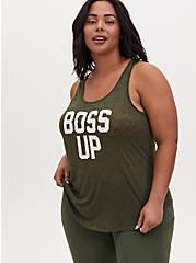 Plus Size Boss Up Burnout Active Tunic Tank - Olive Green, OLIVE, alternate