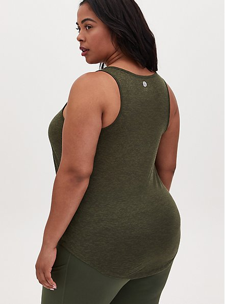 Boss Up Burnout Active Tunic Tank - Olive Green, OLIVE, alternate