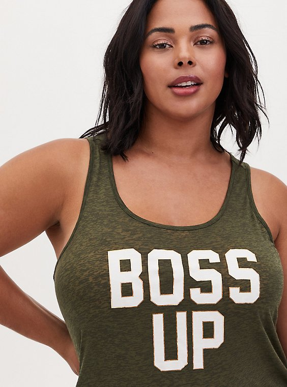 Plus Size Boss Up Burnout Active Tunic Tank - Olive Green, , hi-res