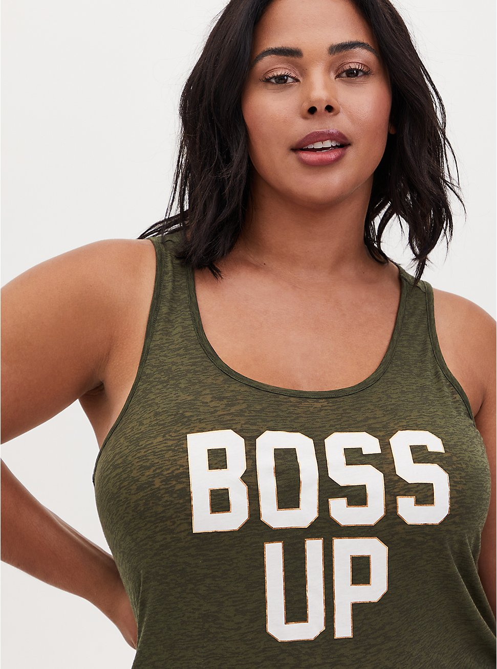 Boss Up Burnout Active Tunic Tank - Olive Green, OLIVE, hi-res