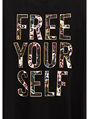 Free Yourself Black Floral T-Back Wicking Active Tunic Tank, DEEP BLACK, alternate