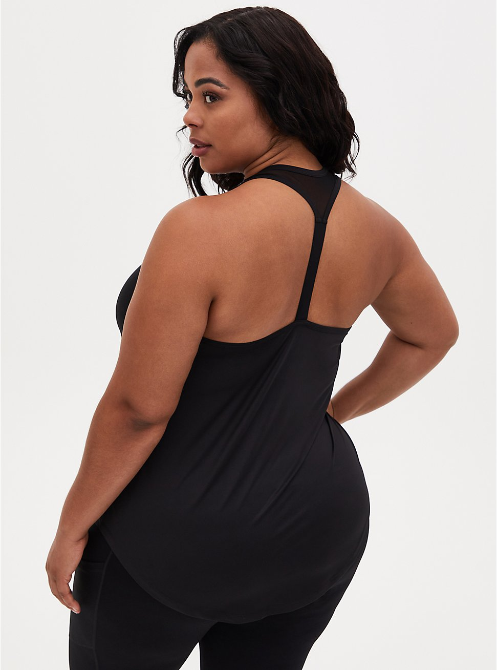 Plus Size Black T-Back Wicking Active Tank, DEEP BLACK, hi-res