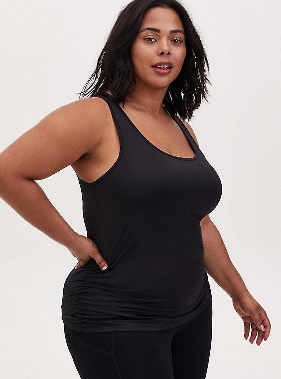 Plus Size Black Shirred Wicking Active Tank, , hi-res