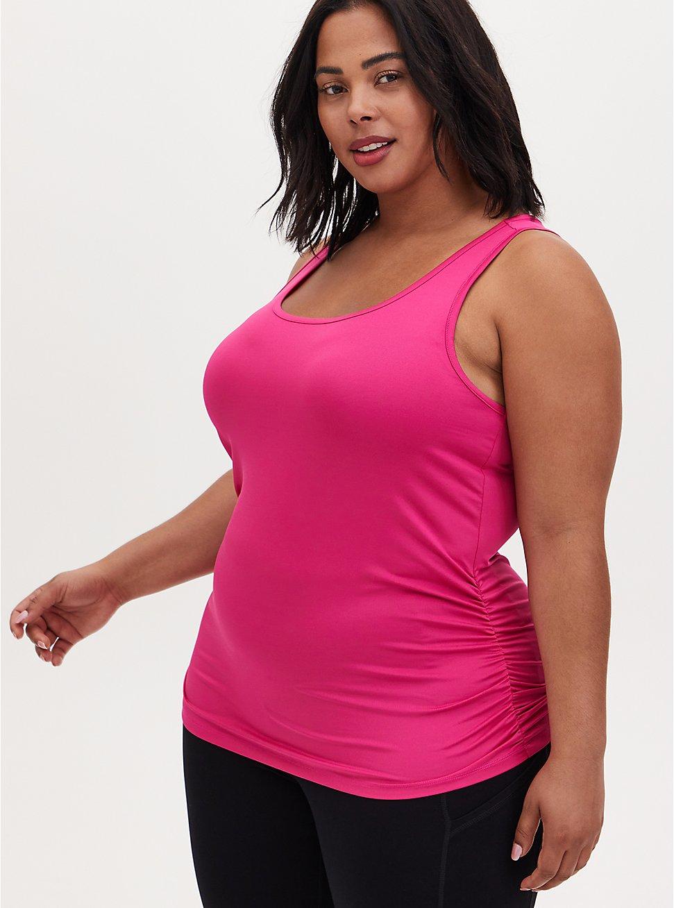 Hot Pink Shirred Wicking Active Tank, PINK, hi-res