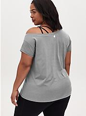 Heather Grey Off Shoulder Wicking Active Tee , GREY, alternate