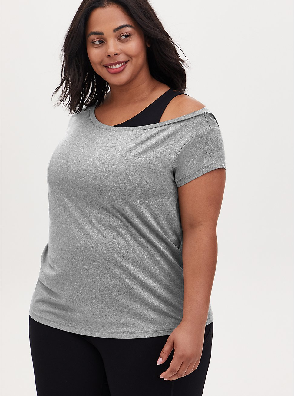 Heather Grey Off Shoulder Wicking Active Tee , GREY, hi-res