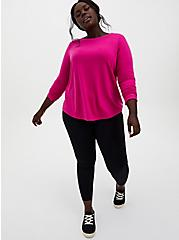 Hot Pink Ladder Back Active Sweatshirt, PINK, alternate