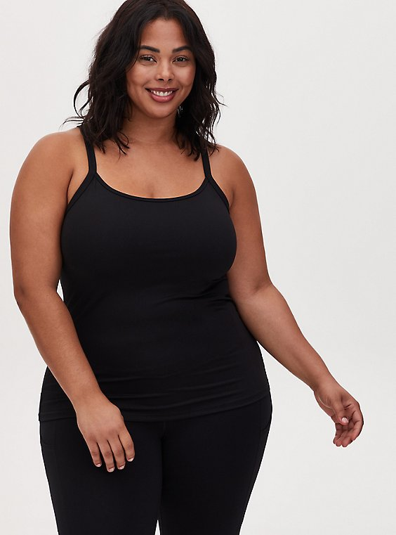 Black Wicking Active Scoop Neck Cami, , hi-res