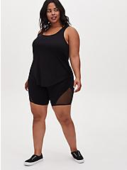 Black Wicking Hi-Lo Active Tunic Tank, DEEP BLACK, alternate