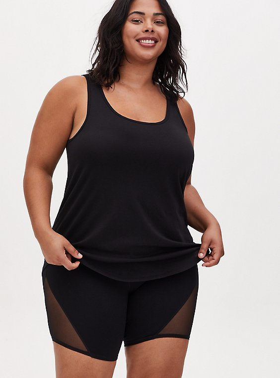 Black Wicking Hi-Lo Active Tunic Tank, DEEP BLACK, hi-res