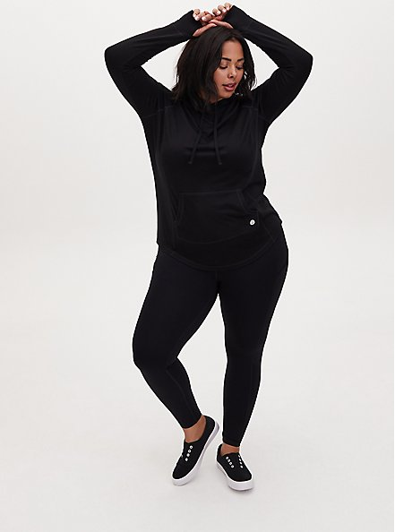Black Active French Terry Pullover Tunic Hoodie, DEEP BLACK, alternate