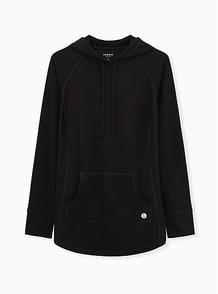 Black Active French Terry Pullover Tunic Hoodie, DEEP BLACK, hi-res
