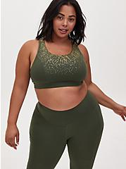 Olive Green & Gold Dots Lattice Wicking Sports Bra, OLIVE, alternate