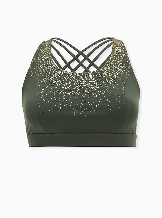 Olive Green & Gold Dots Lattice Wicking Sports Bra, , flat