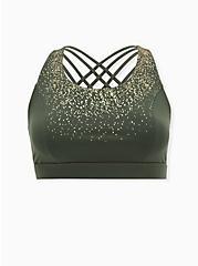 Olive Green & Gold Dots Lattice Wicking Sports Bra, OLIVE, hi-res