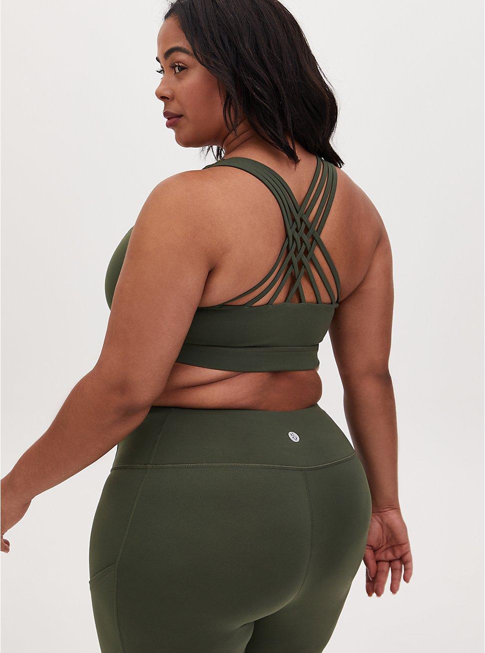 Olive Green & Gold Dots Lattice Wicking Sports Bra, , hi-res