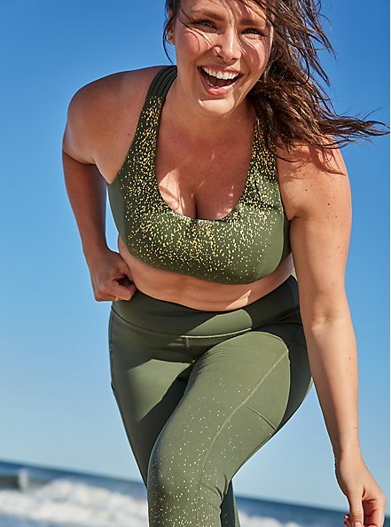 Olive Green & Gold Dots Lattice Wicking Sports Bra, OLIVE, hi-res