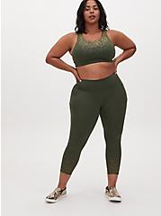Olive Green & Gold Dot Crop Wicking Active Legging With Pockets, OLIVE, alternate