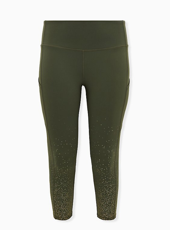 Olive Green & Gold Dot Crop Wicking Active Legging With Pockets, , flat