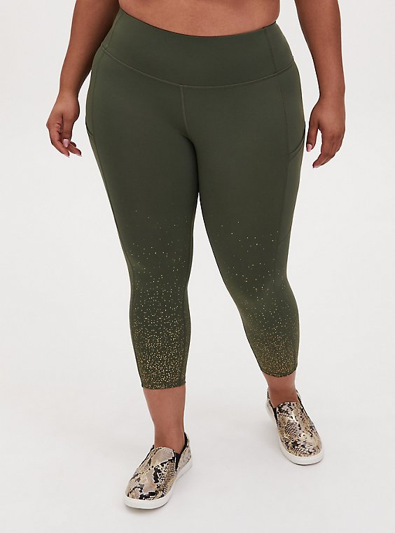 Olive Green & Gold Dot Crop Wicking Active Legging With Pockets, , hi-res