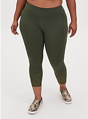 Olive Green & Gold Dot Crop Wicking Active Legging With Pockets, OLIVE, hi-res