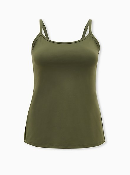 Olive Green Wicking Active Cami, OLIVE, hi-res