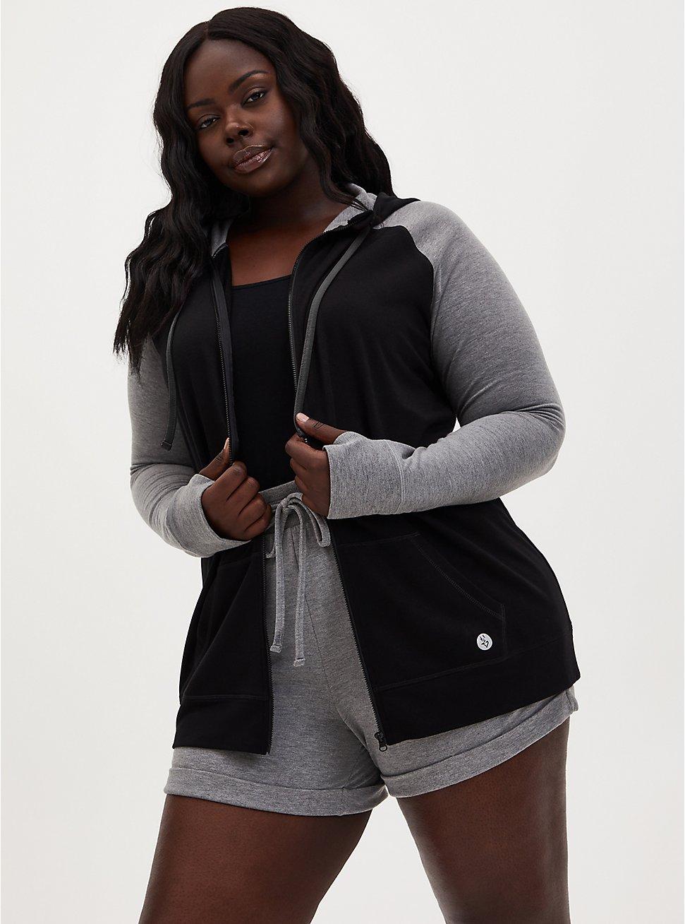 Black & Grey Terry Active Zip Hoodie, DEEP BLACK, hi-res