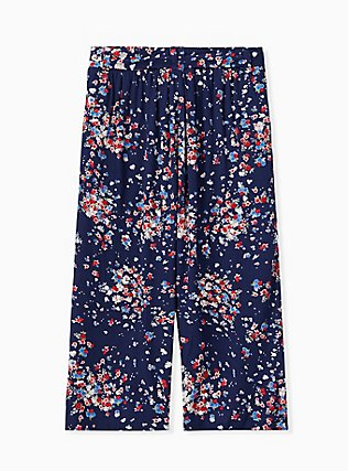 Navy Disty Floral Crinkled Gauze Self Tie Culotte Pant , DITSY DOT, alternate