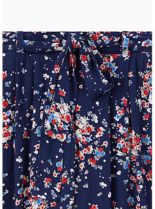 Plus Size Navy Disty Floral Crinkled Gauze Self Tie Culotte Pant , DITSY DOT, alternate