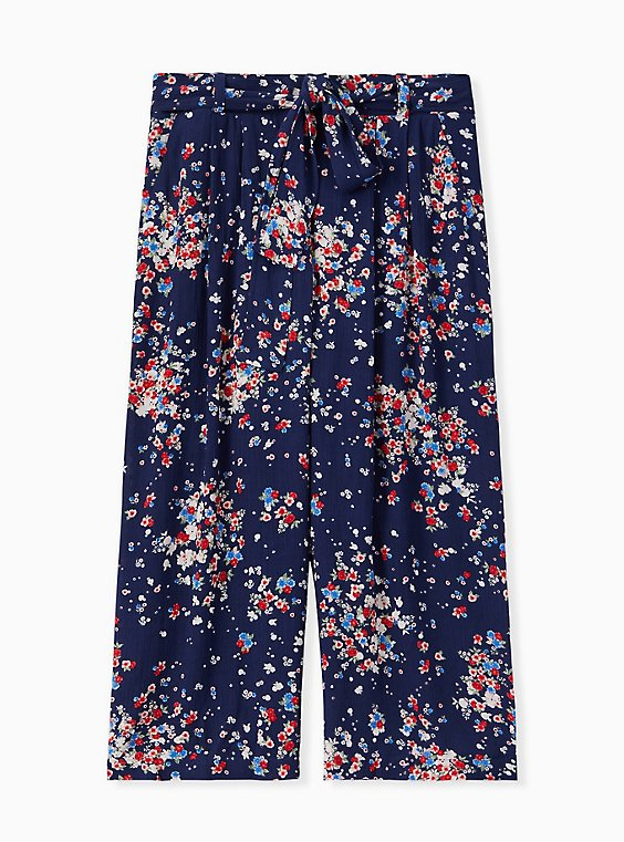 Plus Size Navy Disty Floral Crinkled Gauze Self Tie Culotte Pant , , hi-res