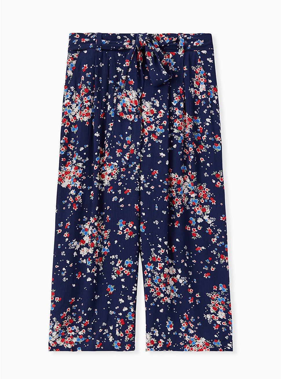 Navy Disty Floral Crinkled Gauze Self Tie Culotte Pant , DITSY DOT, hi-res