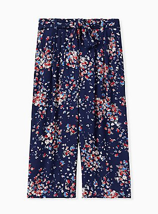 Plus Size Navy Disty Floral Crinkled Gauze Self Tie Culotte Pant , DITSY DOT, hi-res