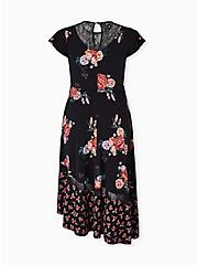 Plus Size Black Floral Studio Knit Asymmetrical Midi Dress, FLORAL - BLACK, alternate