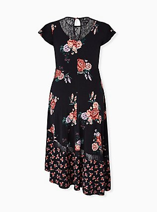 Black Floral Studio Knit Asymmetrical Midi Dress, FLORAL - BLACK, alternate