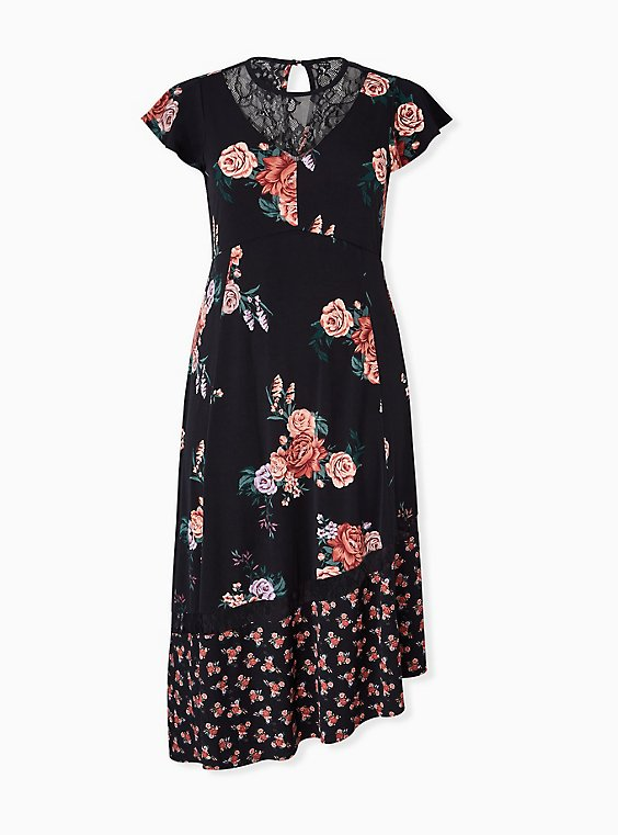 Plus Size Black Floral Studio Knit Asymmetrical Midi Dress, , hi-res