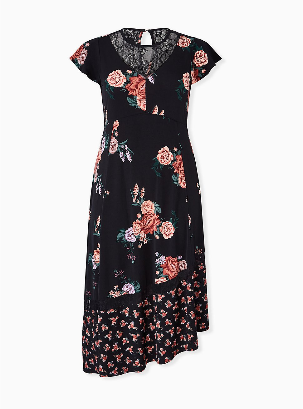 Plus Size Black Floral Studio Knit Asymmetrical Midi Dress, FLORAL - BLACK, hi-res