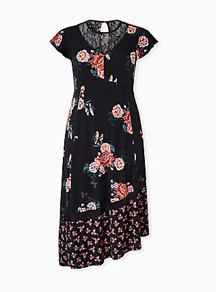 Black Floral Studio Knit Asymmetrical Midi Dress, FLORAL - BLACK, hi-res