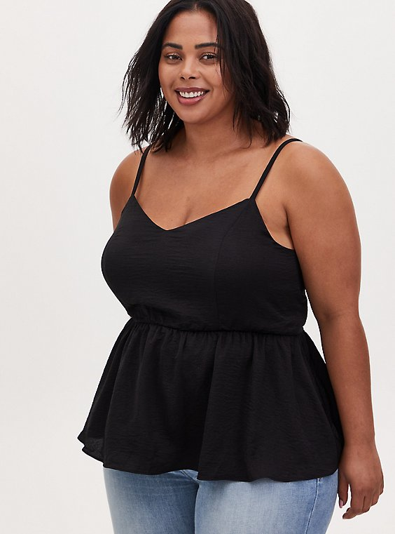 Black Textured Satin Peplum Cami, DEEP BLACK, hi-res
