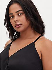 Black Satin Charmeuse Surplice Bodysuit , DEEP BLACK, alternate