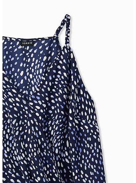 Navy Dots Satin Charmeuse Surplice Bodysuit , DOT - BLUE, alternate