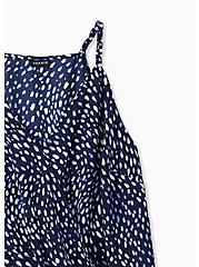Navy Dots Satin Charmeuse Surplice Bodysuit , DOT - BLUE, alternate