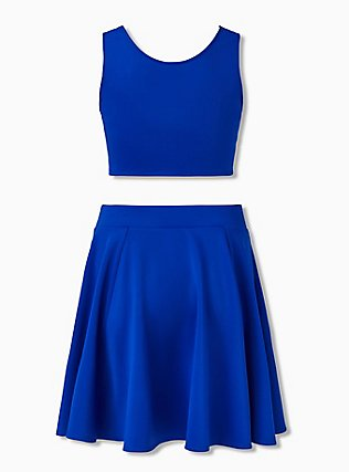 Electric Blue Scuba Knit Crop Top & Mini Skirt Set , ELECTRIC BLUE, alternate