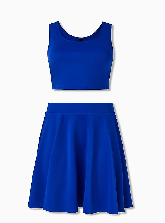 Electric Blue Scuba Knit Crop Top & Mini Skirt Set , , hi-res