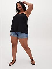 Black Chiffon Double Layer Cami, DEEP BLACK, alternate