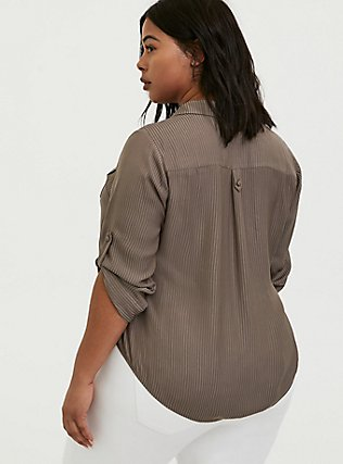 Plus Size Madison - Dark Taupe Satin Shadow Stripe Button Front Blouse, FALCON, alternate
